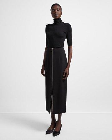 Zip Skirt in Crepe
