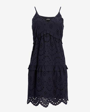 Eyelet Lace Tiered Ruffle Trapeze Dress | Express