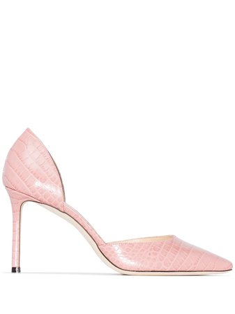 Jimmy Choo Esther 85mm Crocodile Effect Pumps - Farfetch