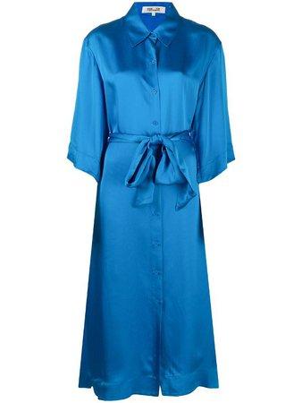Shop blue DVF Diane von Furstenberg Tanza satin shirt dress with Express Delivery - Farfetch