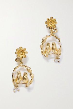Gold Inseparable gold vermeil pearl earrings | Of Rare Origin | NET-A-PORTER