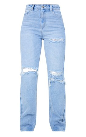 Plt Light Blue Wash Distressed Long Leg Straig | PrettyLittleThing