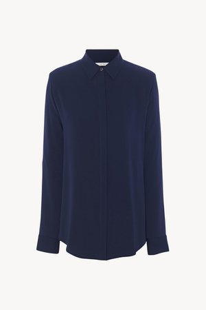 Women's Petah Shirt In Stretch Silk in Navy | The Row
