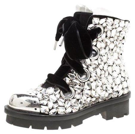 Alexander McQueen Black Suede All Over Crystals Pleat Trim Platform Biker Boots/Booties Size EU 39 (Approx. US 9) Regular (M, B) - Tradesy