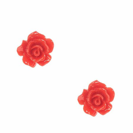 Carved Rose Stud Earrings - Red | Claire's US