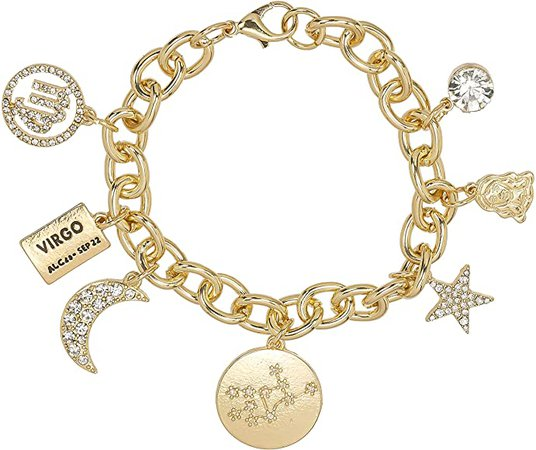 Amazon.com: Personalization Collection Gold Plated Zodiac 'Virgo' Constellation Symbol, Name Plate, Moon, Constellation, Star, and Stone Charm Chain Bracelet for Women: Clothing