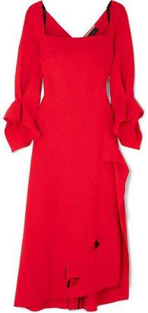 Trinity Draped Cutout Wool-crepe Midi Dress - Red