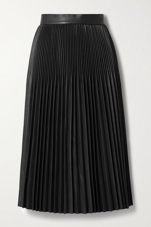 Black Pleated faux leather midi skirt | Jason Wu | NET-A-PORTER