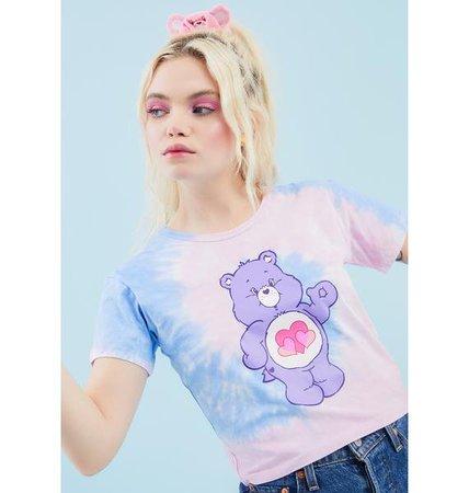 Dolls Kill X Care Bears Graphic Tie Dye Crop Tee - Pink Blue   Dolls Kill