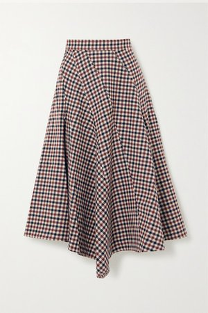 Asymmetric Checked Wool Midi Skirt - Red