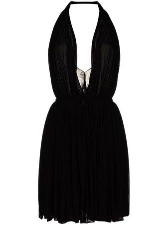 Saint Laurent Halterneck Pleated Mini Dress - Farfetch