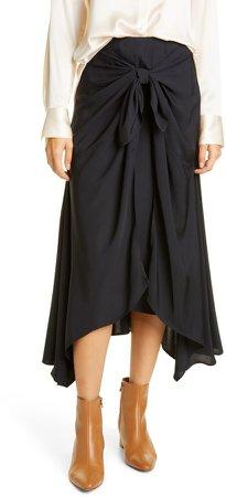 Tie Front Asymmetrical Hem Skirt