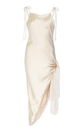 Giselle Tasseled Asymmetric Silk Dress by Cult Gaia   Moda Operandi
