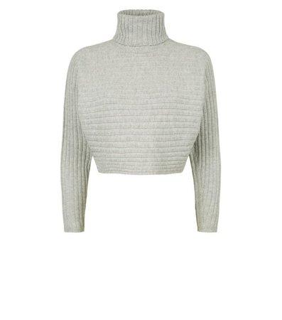 Petite Pale Grey Roll Neck Crop Jumper | New Look