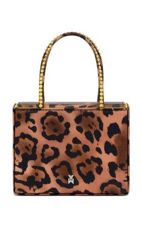 Super Amini Crystal-Trimmed Leopard Satin Top Handle Bag By Amina Muaddi | Moda Operandi