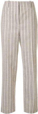 Striped High-Rise Straight-Leg Trousers