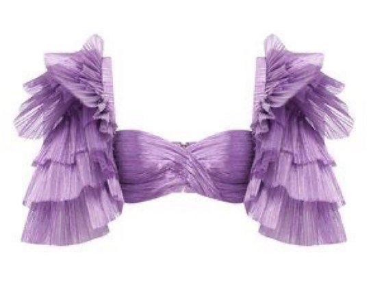 purple feather metallic crop top ruffle