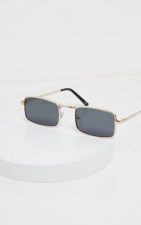 Gold Frame Black Lens Small Square Sunglasses | PrettyLittleThing