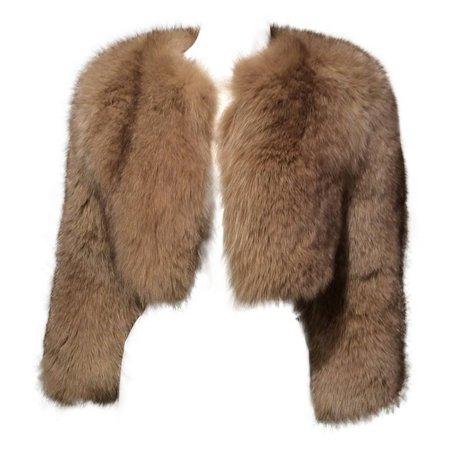 Prada Fox Cropped Jacket Camel Color Sz 38 ( Us 2) For Sale at 1stdibs