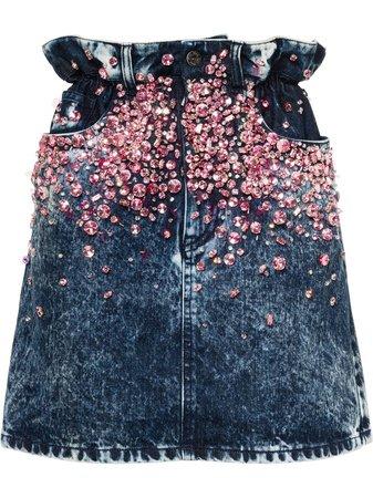 Miu Miu Embellished Denim Skirt - Farfetch