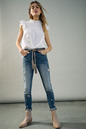 Driftwood Jackie Embroidered Mid-Rise Skinny Jeans | Anthropologie