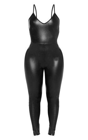 Shape Black Pu Strappy Jumpsuit | Curve | PrettyLittleThing USA