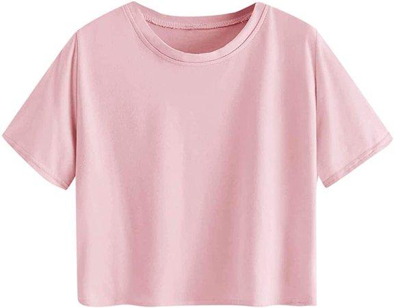 MakeMeChic Women's Short Sleeve Cute Print Crop Top Summer Tee Shirt Light Orange L at Amazon Women's Clothing store