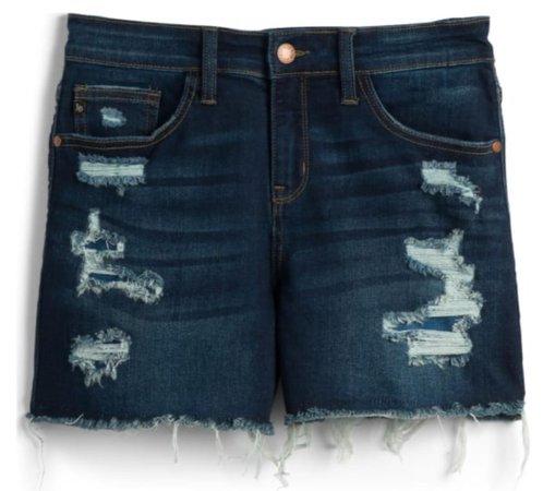 cut off dark wash jean short