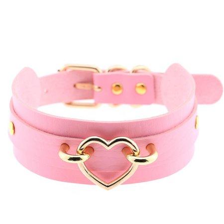 Shopify Pink Heart Lock Choker