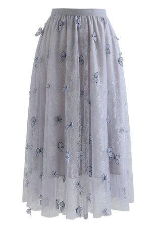 Double-Layered 3D Butterfly Lace Mesh Skirt in Grey - Retro, Indie and Unique Fashion