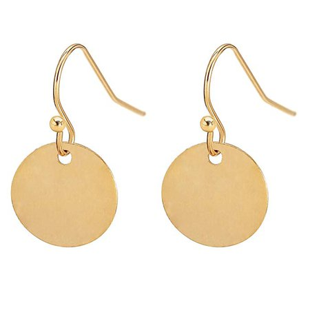 Amazon.com: Gold Circle Disc Dangle Drop Earrings for Women Lightweight Small Round Hoop Statement Earrings Minimalist Jewelry Christmas Gift for Her: Clothing