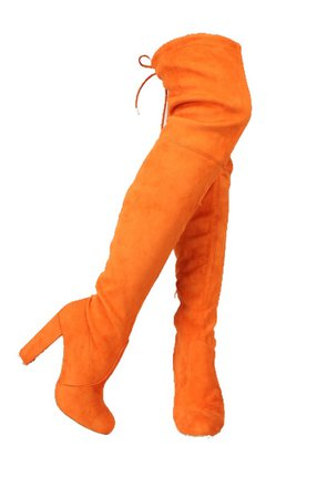 orange thigh high boots