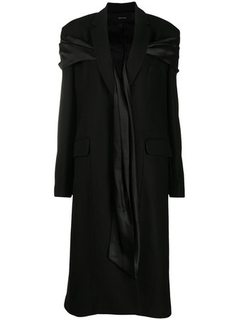 Shop black Simone Rocha satin scarf-detail coat with Express Delivery - Farfetch