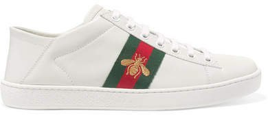 Ace Embroidered Leather Collapsible-heel Sneakers - White