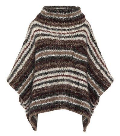 Striped mohair-blend poncho