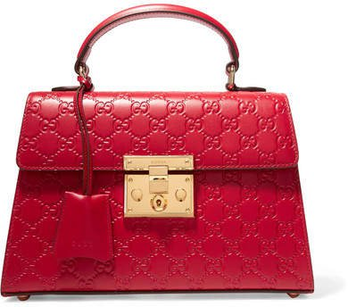 Padlock Small Embossed Leather Tote - Red