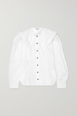 White Ruffle-trimmed cotton-poplin blouse | GANNI | NET-A-PORTER