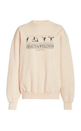 Health And Wellness Cotton-Jersey Sweatshirt By Sporty & Rich | Moda Operandi