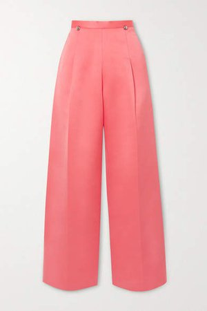 Pleated Satin Wide-leg Pants - Coral