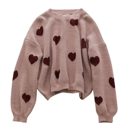 Red hearts print pink knitted oversized sweater in 2018 | my aesthetic ✨ | Pinterest | Sweaters, Fashion and Clothes
