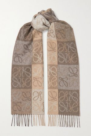 Beige Fringed wool and cashmere-blend jacquard scarf | Loewe | NET-A-PORTER