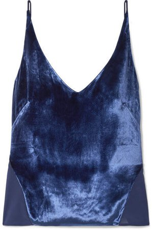Lucy Velvet And Silk-georgette Camisole - Blue