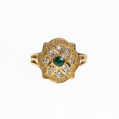 Art Deco Emerald and Diamante Crystal Ring with Milgrain Accent - Vintage Meet Modern