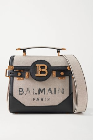 Beige B-Buzz 23 textured leather-trimmed printed canvas shoulder bag | Balmain | NET-A-PORTER