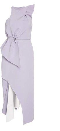Rachel Gilbert Carmine Asymmetric Crepe Midi Dress