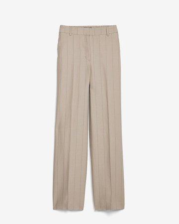 High Waisted Pinstripe Elastic Back Trouser Pant