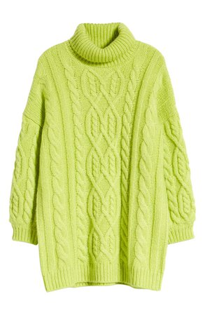 MOON RIVER Oversized Neon Cable Turtleneck Sweater | Nordstrom