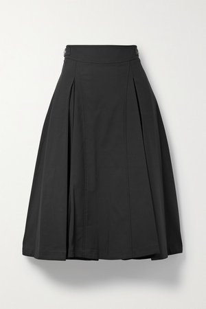 Buckled Pleated Cotton-blend Midi Skirt - Black