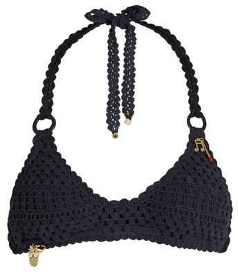 Crochet Halterneck Bikini - Womens - Navy