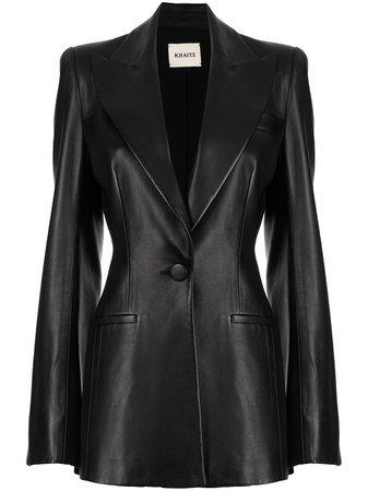 Khaite Blondie Leather Black Blazer Jacket - Farfetch